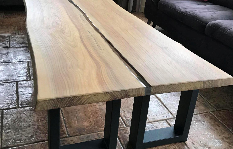 Iepenhouten salontafel